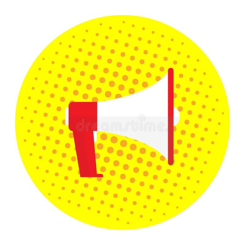 Megaphone εικόνων σε ένα κίτρινο υπόβαθρο, λαϊκή τέχνη, τρύγος Προσφορά μέγα-διαφήμισης, έμβλημα διάνυσμα εικόνων απεικονίσεων απ απεικόνιση αποθεμάτων