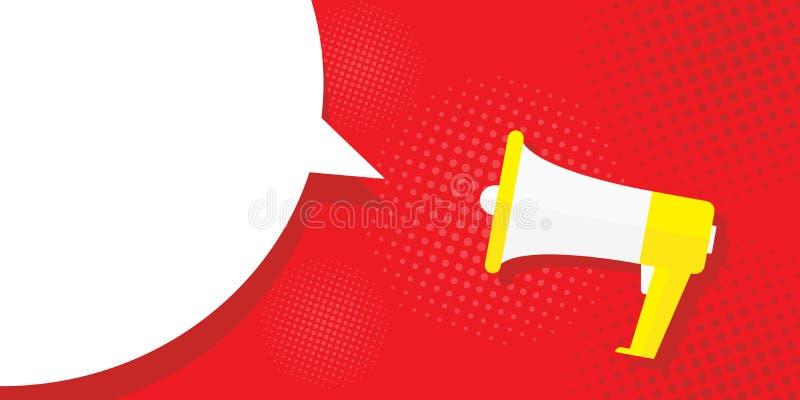 Megaphone εικόνων σε ένα κόκκινο υπόβαθρο, λαϊκή τέχνη, τρύγος Προσφορά μέγα-διαφήμισης, έμβλημα Σύννεφο για το κείμενο, μήνυμα ελεύθερη απεικόνιση δικαιώματος