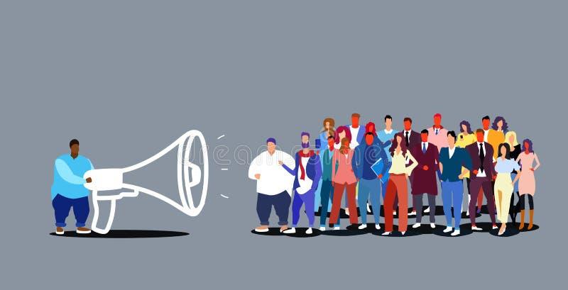 Megaphone εκμετάλλευσης αρχηγών ομάδας επιχειρηματιών επιχειρησιακό άτομο που αναγγέλλει τις πληροφορίες που μιλούν στο μεγάφωνο  διανυσματική απεικόνιση