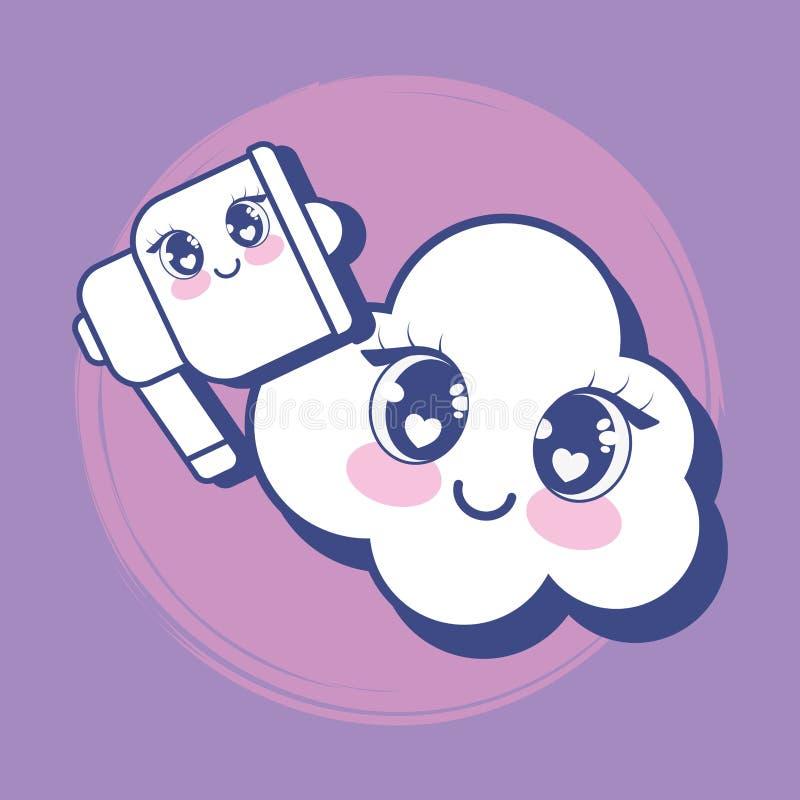 Megaphone και σύννεφο Kawaii απεικόνιση αποθεμάτων