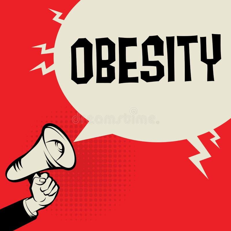 Megaphone χέρι, επιχειρησιακή έννοια με την παχυσαρκία κειμένων απεικόνιση αποθεμάτων