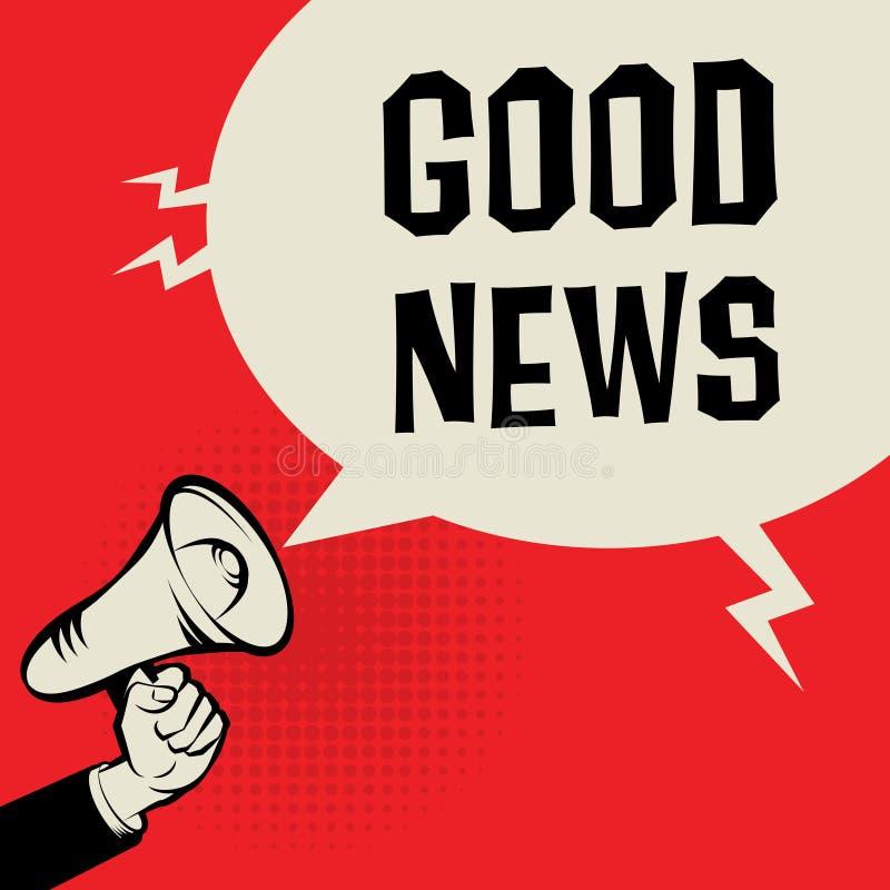 Megaphone χέρι, επιχειρησιακή έννοια με τις καλές ειδήσεις κειμένων διανυσματική απεικόνιση