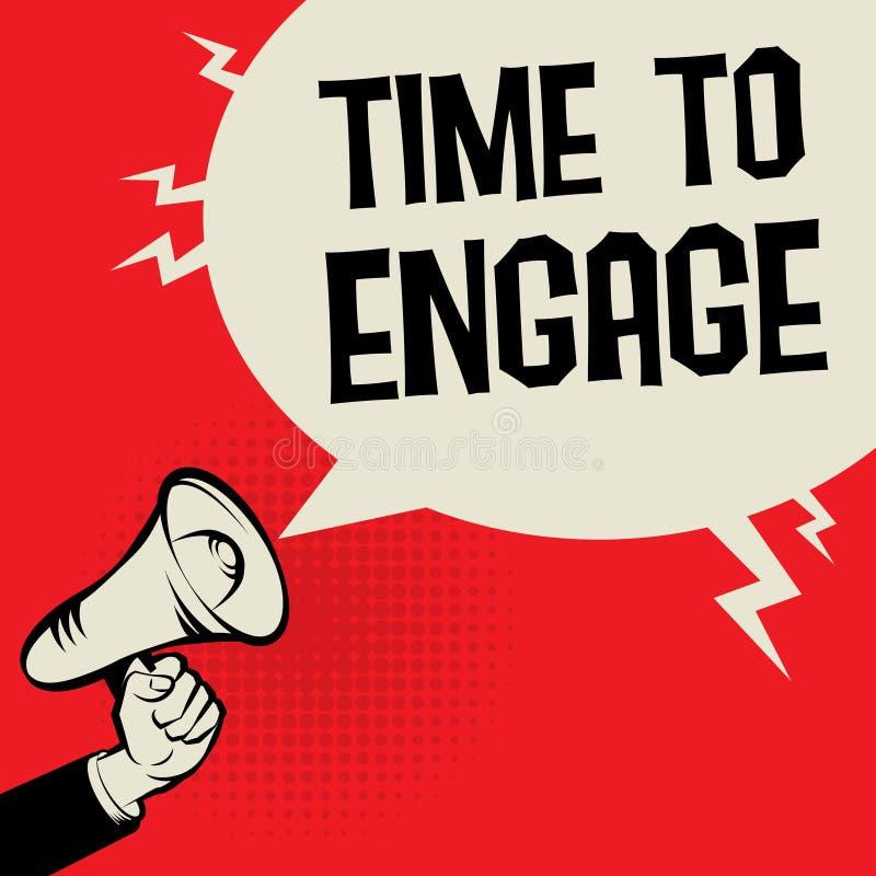 Megaphone χρόνος επιχειρησιακής έννοιας χεριών να δεσμεύσει διανυσματική απεικόνιση