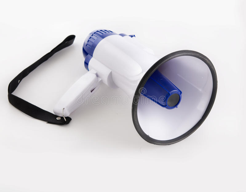 Megaphone. A photo of a megaphone isolated against white background royalty free stock images