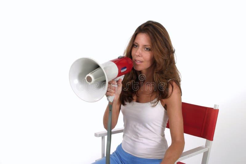 megaphone 3 σκηνοθέτη γυναίκα στοκ φωτογραφίες