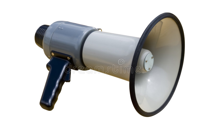 Megaphone. Old socialist megaphone over a white background stock photo