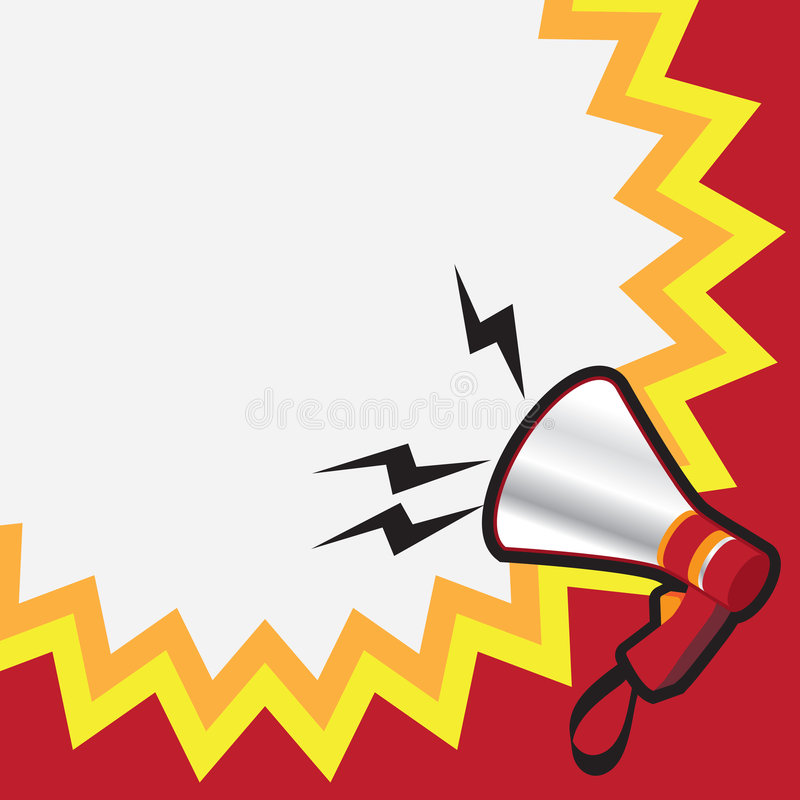 Megaphone. Illustration of a megaphone with white copy space background royalty free illustration