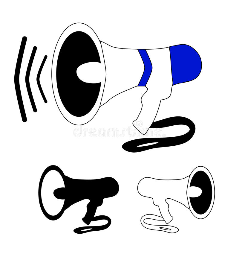 Megaphone black and white royalty free stock photos