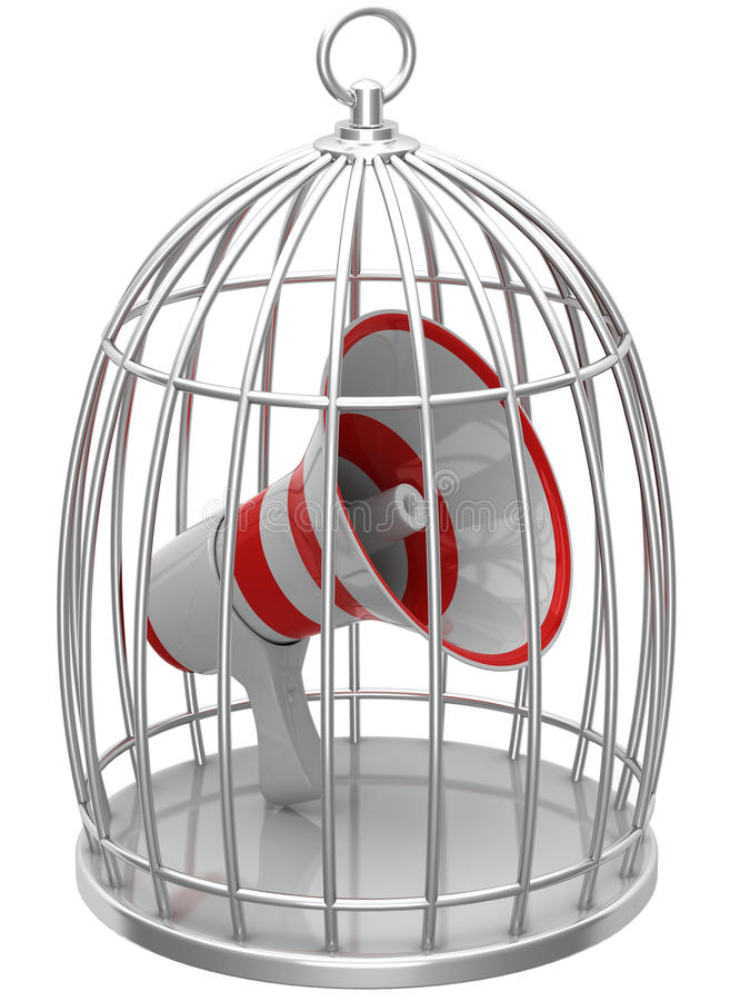 Download Megaphone in a cage stock illustration. Image of communicate - 27026963