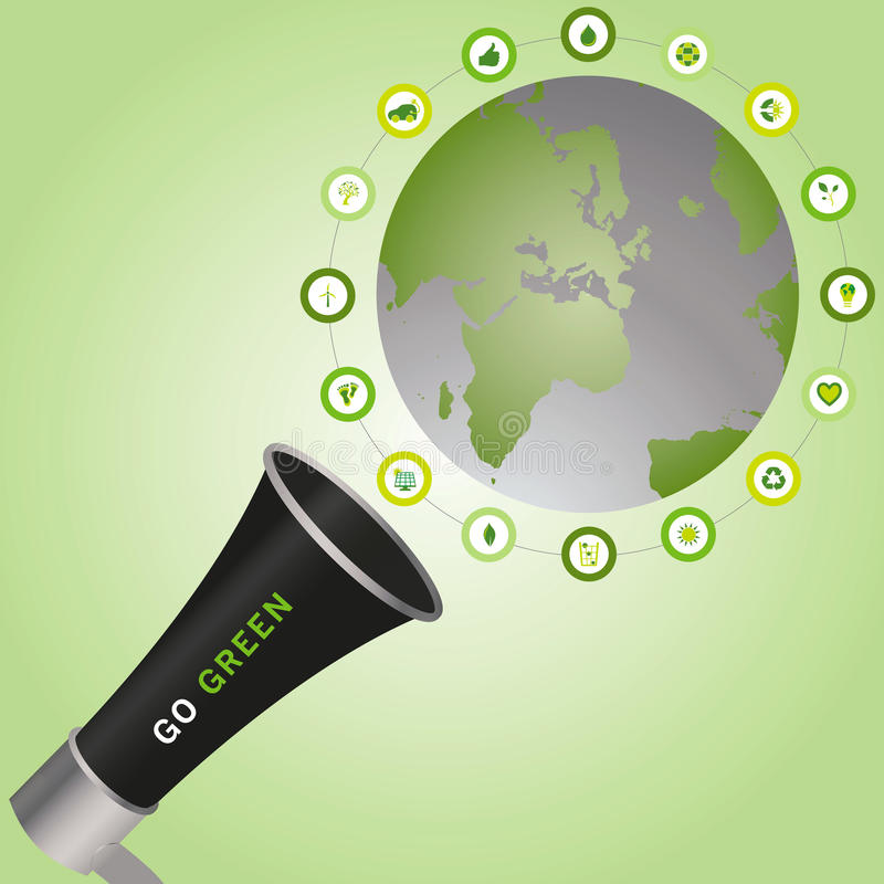 Megaphone calling Go Green to a sustainable world surrounded wit stock image