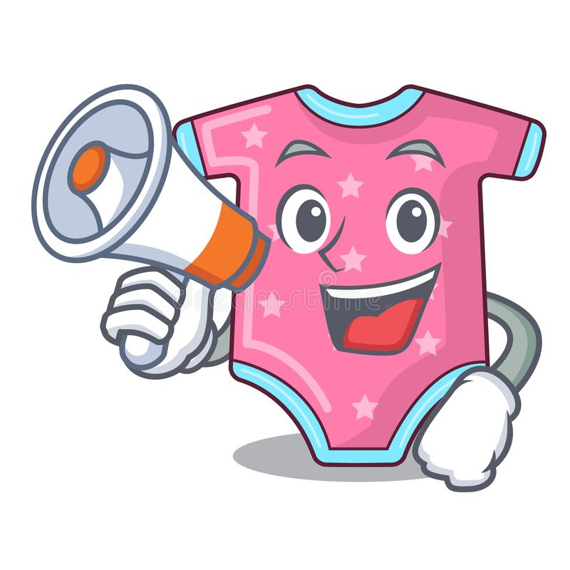 With megaphone character baby clothes hanging on clothesline. Vector illustration vector illustration
