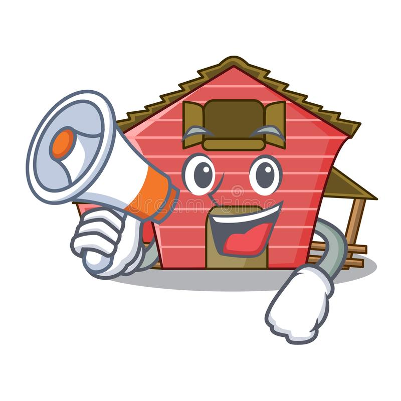 With megaphone character red barn building with haystack. Vector illustration royalty free illustration