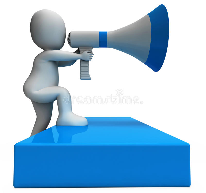 Megaphone Character Shows Announcements Announcing And Announce royalty free illustration