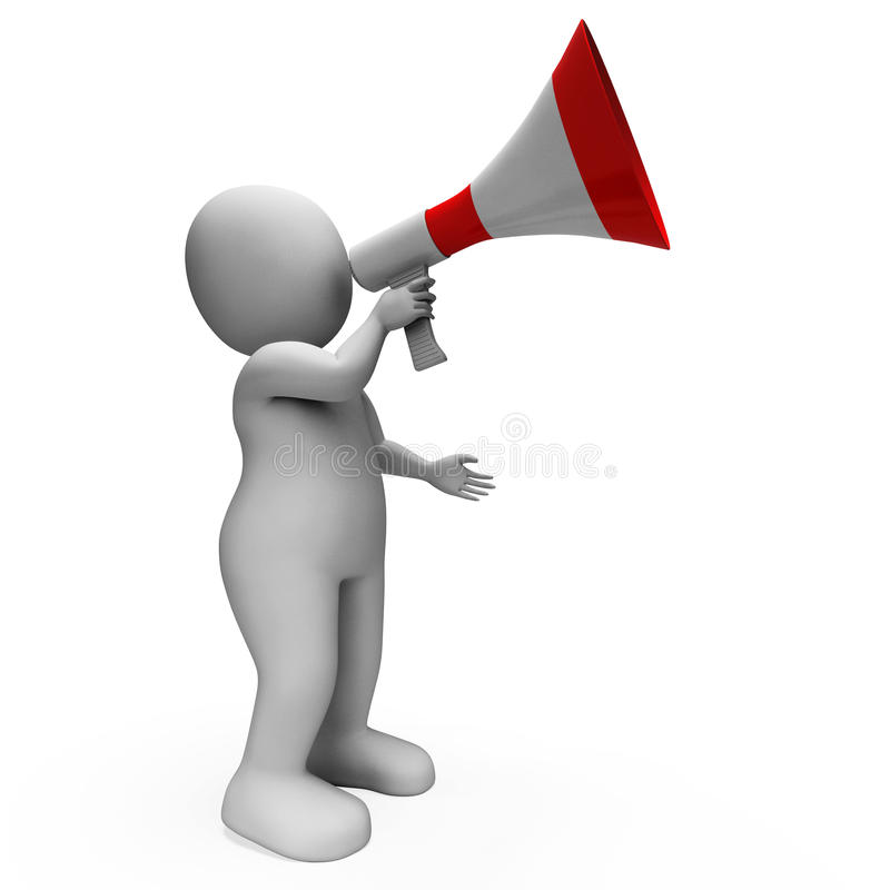 Megaphone Character Shows Announcements. Megaphone Character Showing Announcements Proclaiming And Announcing stock illustration