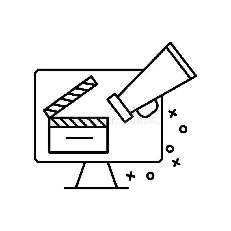 Megaphone, computer, camera icon. Element of film Industry icon. On white background stock illustration