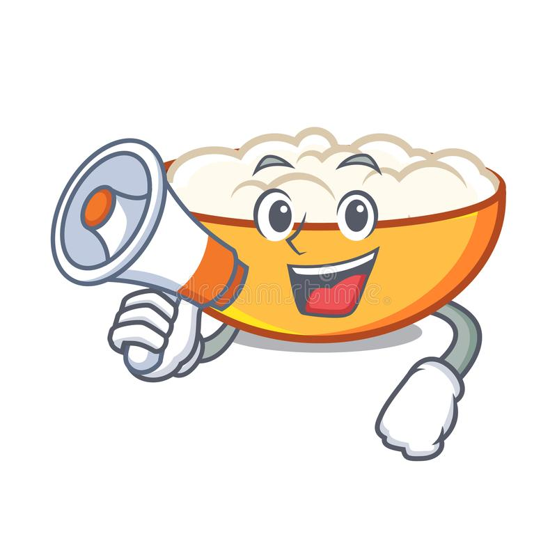 With megaphone cottage cheese character cartoon. Vector illustration vector illustration