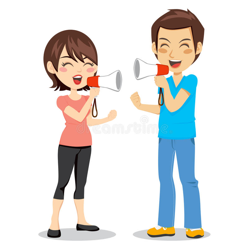 Download Megaphone Couple stock vector. Image of arguing, mouth - 19690483