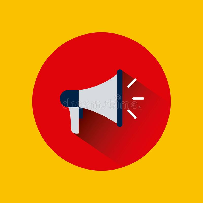 Megaphone device icon. Over red circle and yellow background. colorful design. illustration vector illustration