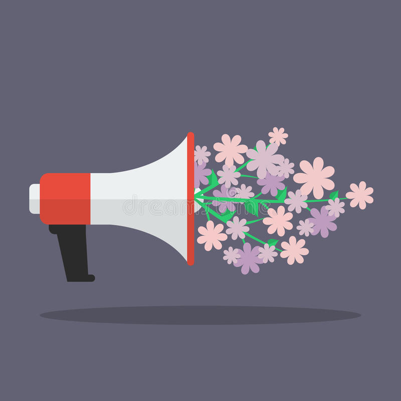 Megaphone with flower flat icon royalty free illustration
