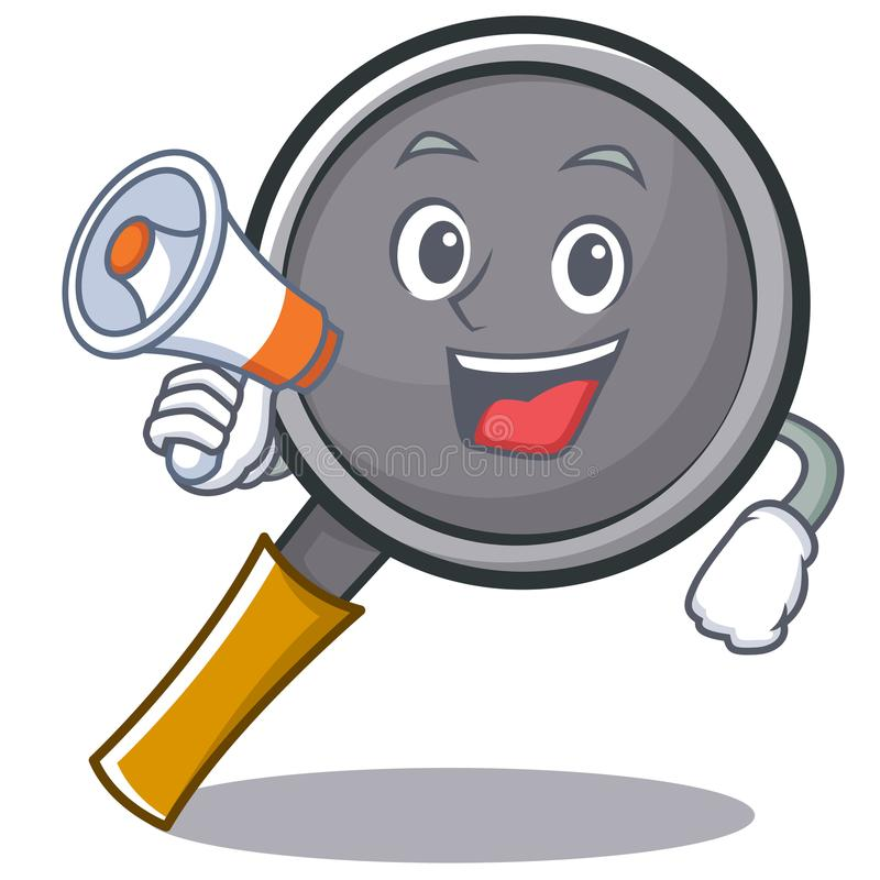 With megaphone frying pan cartoon character. Vector illustration royalty free illustration