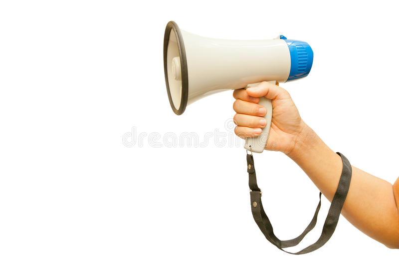 Megaphone in hand. Isolated on white royalty free stock image