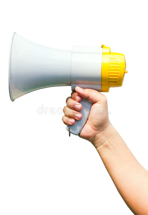 Megaphone In Hand. Megaphone In Hand, Isolated On White Background royalty free stock photography