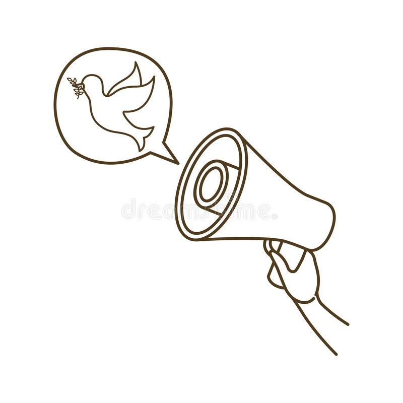 Megaphone in hand with speech bubble isolated icon vector illustration