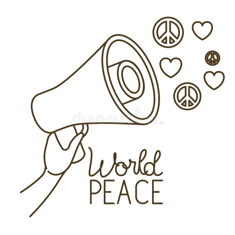 Megaphone in hand with world peace isolated icon royalty free illustration