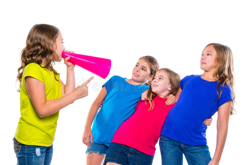 Megaphone leader kid girl shouting friends stock photos