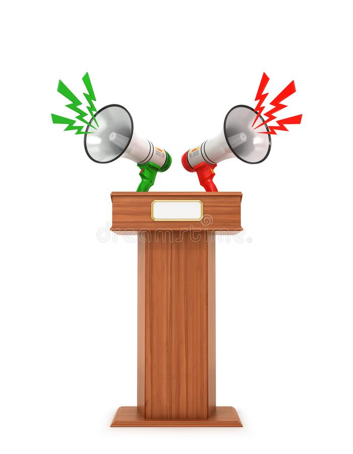 Megaphone loudspeaker Stand Tribune speech. 3d. Illustration stock illustration