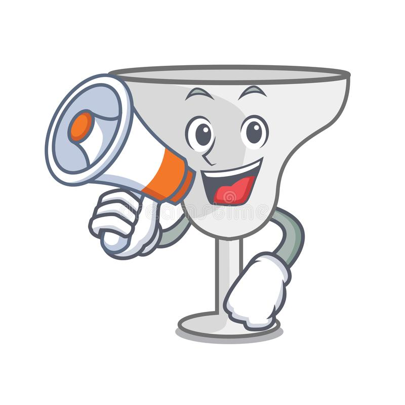 With megaphone margarita glass character cartoon. Vector illustration royalty free illustration