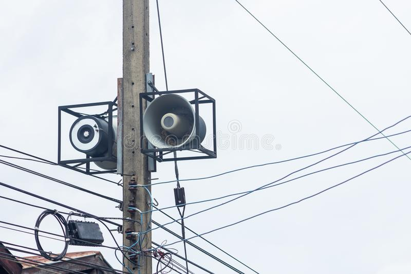 Megaphone. Installed on the power poles in rural villages of Thailand royalty free stock photo