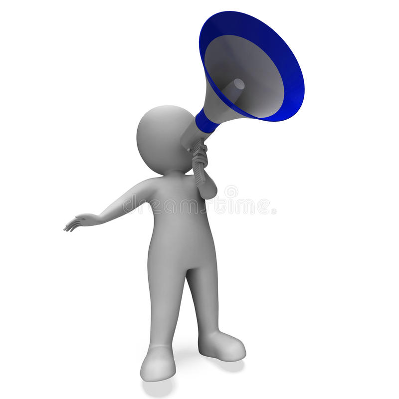 Megaphone Message Character Shows Announcements Proclaiming And. Megaphone Message Character Showing Announcements Proclaiming And Announcing royalty free illustration
