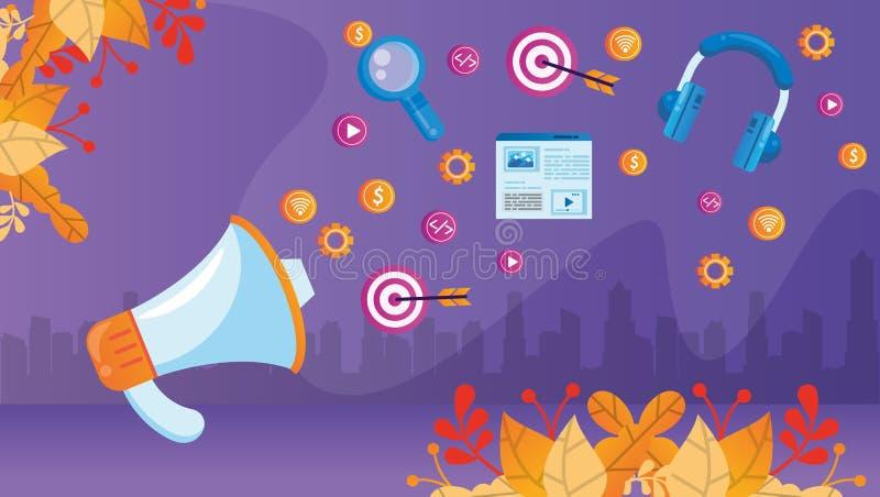 Megaphone mit Social Media Marketing Icons lizenzfreie abbildung