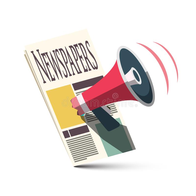 Megaphone with Newspapers. Advertising and Announcement Symbol. Vector News Icon. Megaphone with Newspapers. Advertising and Announcement Symbol. Vector News stock illustration