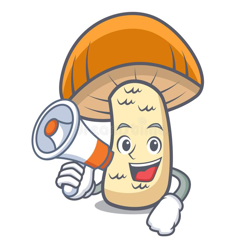 With megaphone orange cap boletus mushroom character cartoon. Vector illustration royalty free illustration
