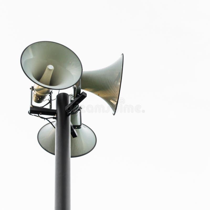 Megaphone. Pole isolated background royalty free stock photo