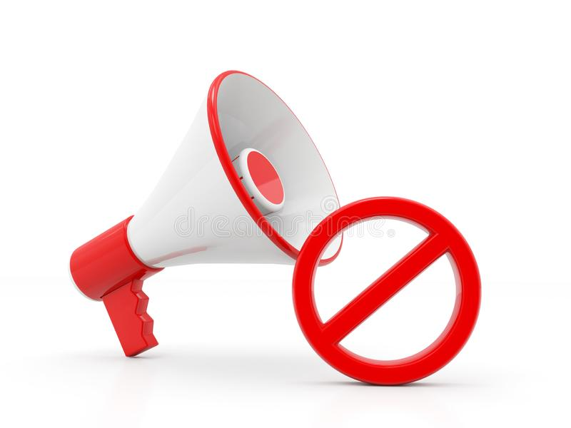 Megaphone with red not allowed sign on a white background. 3d render royalty free illustration