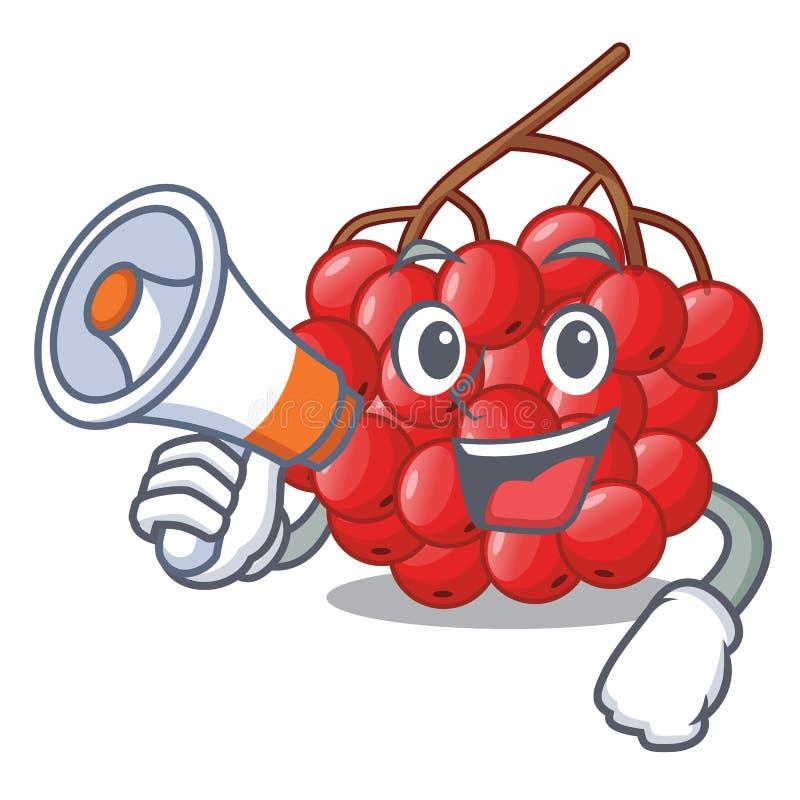 With megaphone rowan berries fruit on cartoon wood stock illustration