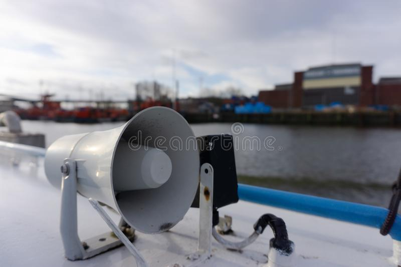 Megaphone on a ship in a harbour stock photography