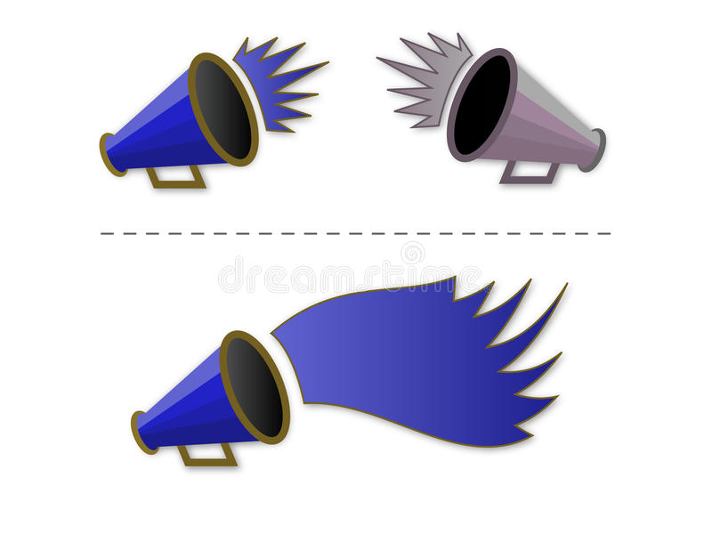 Megaphone shout-out. Vector illustration of Megaphone shout-out in blue royalty free illustration
