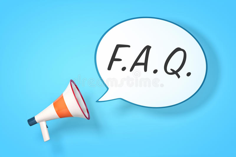 Megaphone. A megaphone with a speech bubble and the message FAQ stock illustration