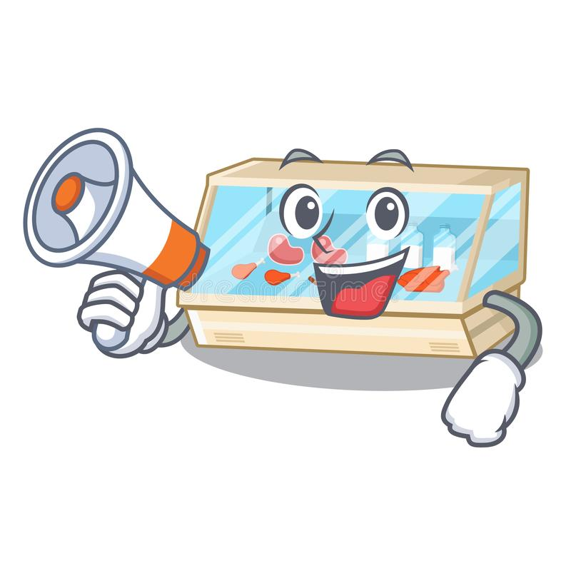 With megaphone trade counter in the mascot shape. Vector illustration royalty free illustration