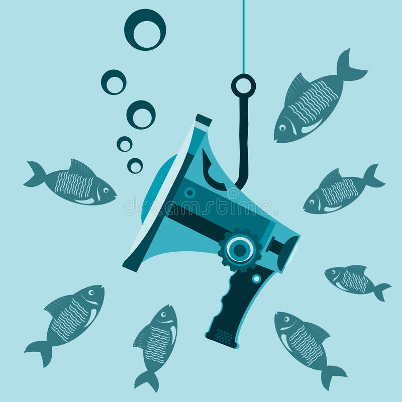 Megaphone under water on the hook with the fish. royalty free illustration