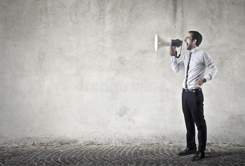 Megaphone user stock photo