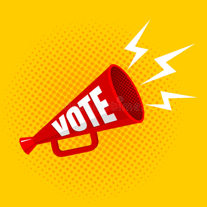 Megaphone with vote royalty free illustration