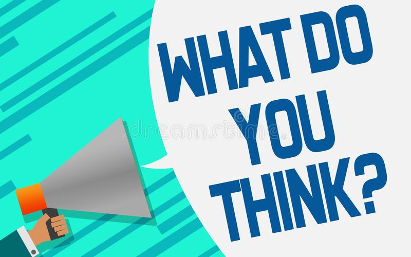 Megaphone with what do you think speech bubble vector illustration