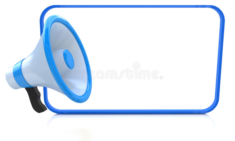 Megaphone and white board royalty free illustration