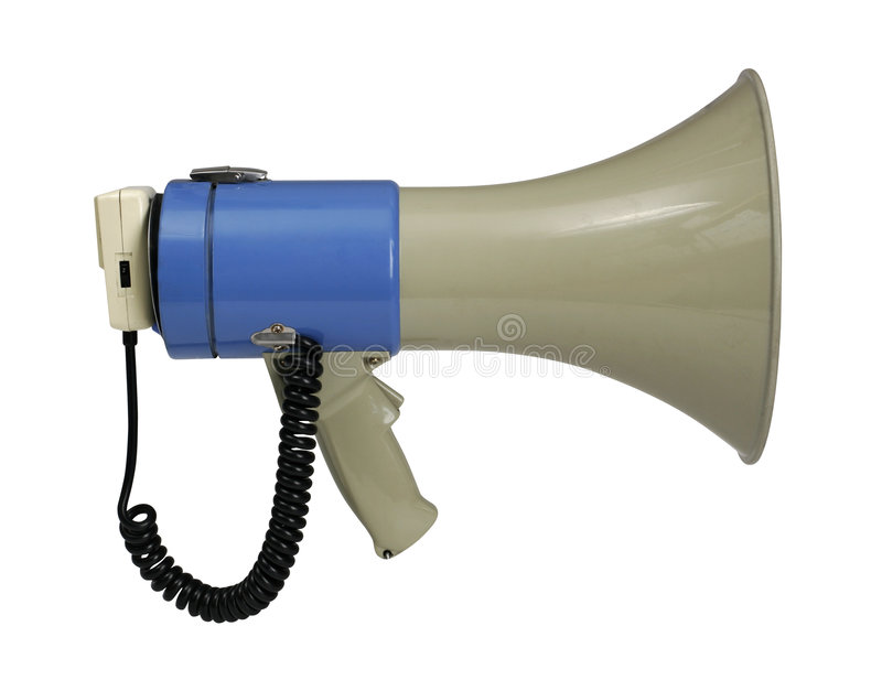 Megaphone on white with path. Retro electronic megaphone isolated on white with clipping path - clipping path is carefully hand-drawn stock image
