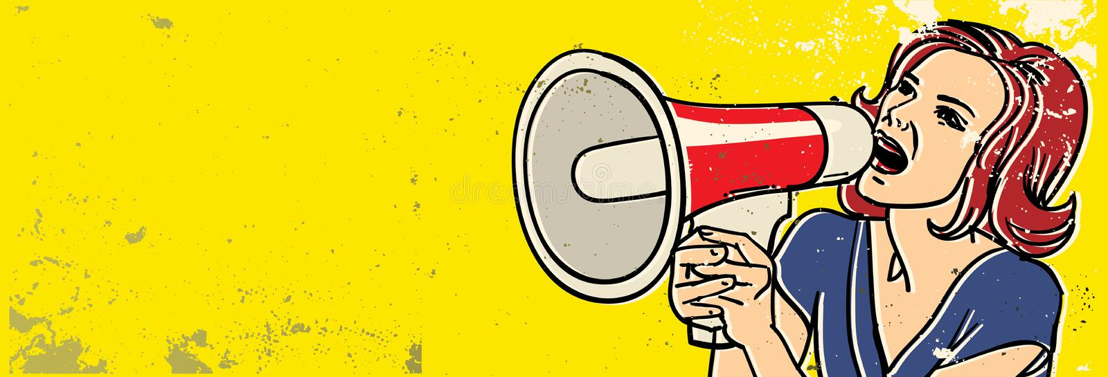Megaphone woman vector illustration